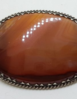 Sterling Silver Antique Large Oval Agate Brooch