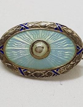 Sterling Silver Blue Guilloche Enamel Oval Brooch