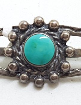Sterling Silver Ornate Turquoise Bar Brooch