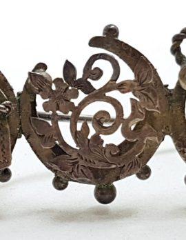 Sterling Silver Antique Ornate Filigree Horseshoe & Anchor Bar Brooch