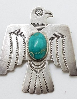 Sterling Silver Turquoise Large Eagle Brooch