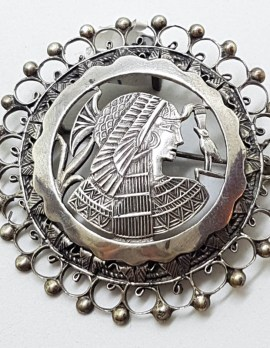 Sterling Silver Large Round Ornate Egyptian Design Brooch / Pendant
