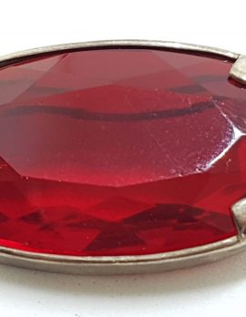 Sterling Silver Large Oval Red Paste Brooch