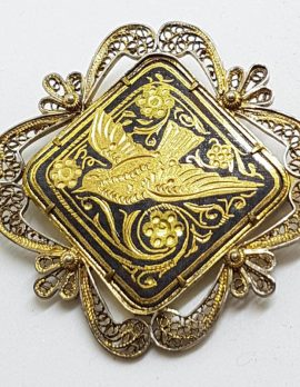 Sterling Silver Large Ornate Gold Plated with Black Floral and Bird Filigree Brooch