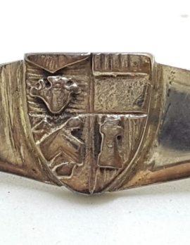 Sterling Silver Crest / Shield Bar Brooch