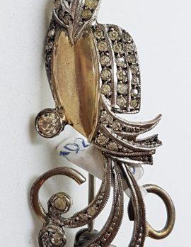 Sterling Silver & Gold Ornate Cubic Zirconia Bird Brooch