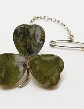 Sterling Silver & Scottish Agate Shamrock / Clover Leaf Brooch