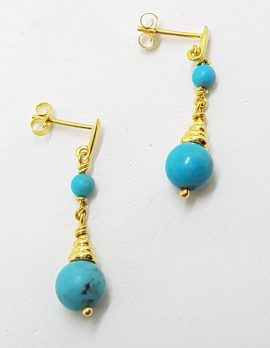 9ct Yellow Gold Turquoise Ball Long Drop Earrings