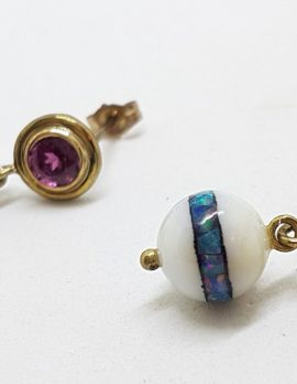 9ct Yellow Gold Rhodolite Garnet with Agate and Opal Inlay Handmade Ball Drop Earrings