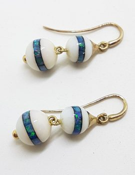 9ct Yellow Gold Agate and Opal Inlay Handmade Long Ball Drop Earrings