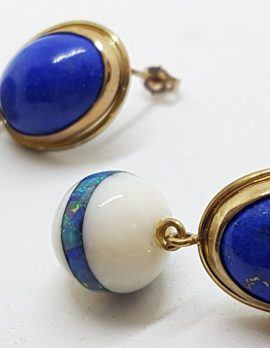 9ct Yellow Gold Lapis Lazuli with Agate and Opal Inlay Handmade Ball Drop Earrings