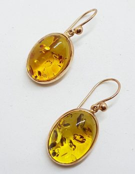 9ct Rose Gold Natural Baltic Amber Large Oval Drop Earrings