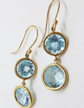 9ct Yellow Gold Double Round Blue Topaz Long Drop Earrings
