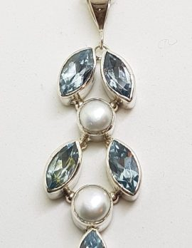 Sterling Silver Long Topaz and Pearl Leaf Pendant on Silver Chain