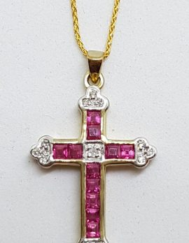 9ct Yellow Gold Natural Ruby and Diamond Cross / Crucifix Pendant on 9ct Chain