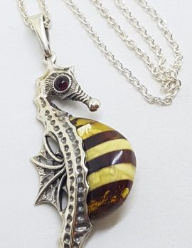 Sterling Silver and Amber Large Seahorse Pendant on Chain