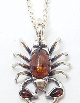 Sterling Silver Baltic Amber Scorpio Pendant on Silver Chain