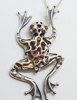 Sterling Silver Very Large Baltic Amber Frog Pendant on Silver Chain