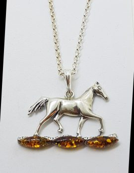 Sterling Silver Baltic Amber Horse Pendant on Silver Chain