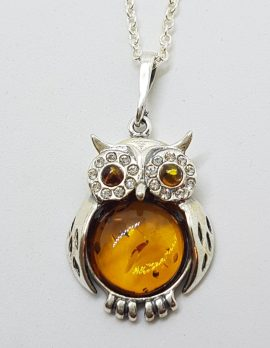 Sterling Silver Baltic Amber and Cubic Zirconia Owl Pendant on Chain