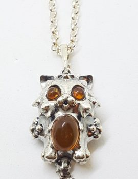 Sterling Silver Cartoon Style Amber Cat Pendant on Silver Chain