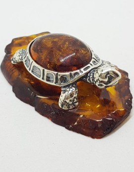 Turtle / Tortoise - Solid Sterling Silver Natural Baltic Amber Figurine / Statue / Sculpture