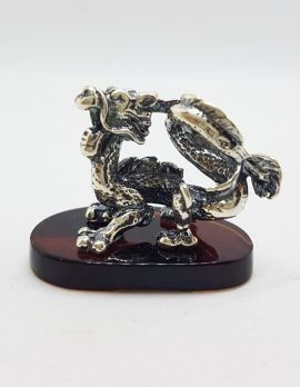 Dragon - Sterling Silver Natural Baltic Amber Small Figurine / Statue / Sculpture