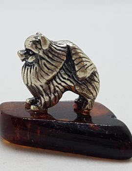 Pekinese / Pomeranian Dog – Solid Sterling Silver Natural Baltic Amber Small Animal Figurine / Statue / Sculpture