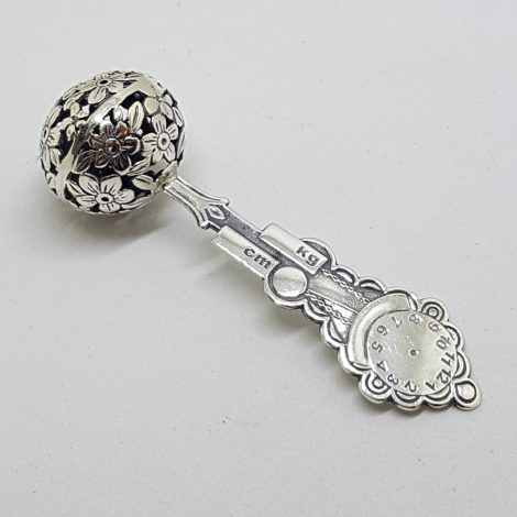 Solid Sterling Silver Baby Rattle - Engravable with Name, Weight, Size, Date & Time of Babies Birth - Ornate
