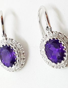 9ct White Gold Oval Amethyst and Diamond Drop Earrings