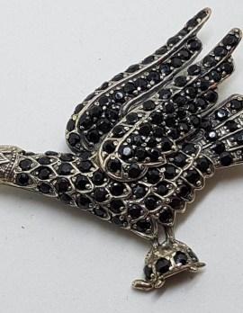 Sterling Silver Large Black Stone Eagle / Bird Brooch