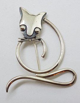 Sterling Silver Stylised Cat Brooch - Sitting