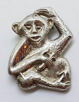 Sterling Silver Monkey / Gorilla / Ape Brooch