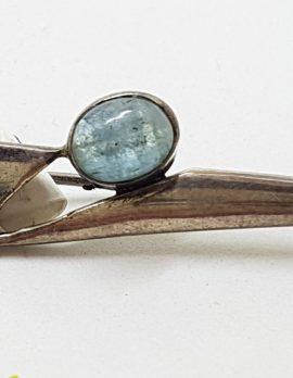 Sterling Silver Oval Cabochon Aquamarine on Bar Brooch