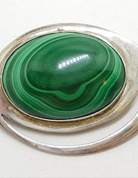 Sterling Silver Large Oval Malachite Brooch