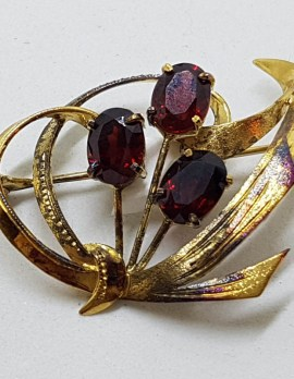 Sterling Silver and Gold Plated Garnet Cluster Brooch