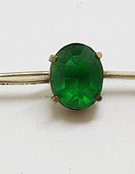 Sterling Silver Oval Green Stone Bar Brooch - Vintage