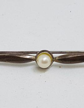 Sterling Silver Pearl Bar Brooch - Vintage