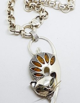 Sterling Silver Large & Long Natural Baltic Amber Cat Pendant on Thick Belcher Chain / Necklace