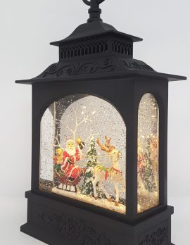 Christmas Glitter Lantern - Santa in a Sleigh with Reindeer / Rudolph - Christmas Ornament #5