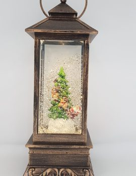 Christmas Glitter Lantern – Santa on His Sleigh with His Reindeers Going Around a Christmas Tree – Christmas Ornament Design #12