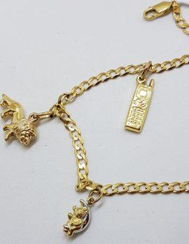 9ct Yellow Gold Charm Bracelet - 3 Charms