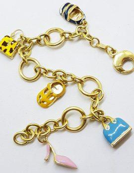 "Solid 18ct Yellow Gold Enamel Handbag and Shoe Charm "" Shopping "" Bracelet - Heavy"