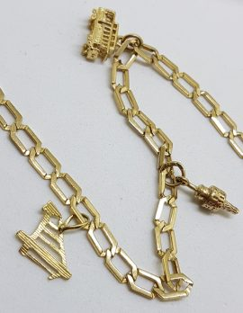 9ct Yellow Gold 3 Charms Bracelet - Vintage