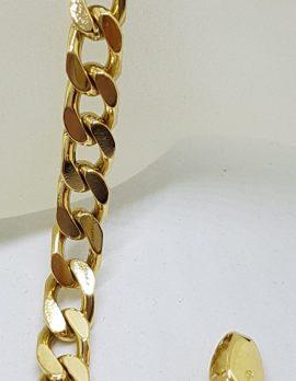18ct Yellow Gold Flat Curb Link Bracelet - Ladies / Gents