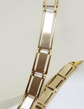 9ct Yellow & White Gold Flat Long Link Bracelet