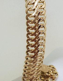 9ct Rose Gold Flat Wide 2 Row Link Bracelet