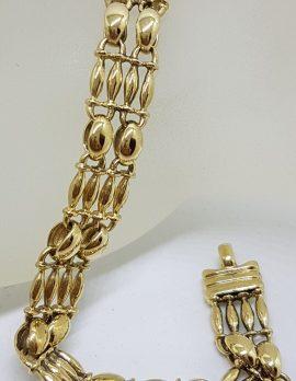 9ct Yellow Gold Ornate Wide Link Bracelet - Vintage