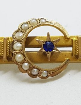 9ct Yellow Gold Natural Sapphire and Seedpearls Ornate Star, Moon Crescent Bar Brooch – Antique / Vintage