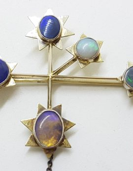 18ct White Gold Large Solid Opal Southern Cross / Eureka Brooch – Antique / Vintage